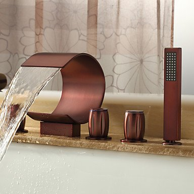 GuiXinWeiHeng Oil-rubbed Bronze Waterfall Widespread Bathtub Faucet with Hand Shower (Curved Shape Design) by GuiXinWeiHeng