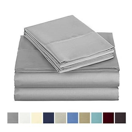 Audley Home 500 Thread Count Bed Sheet Set 100% Egyptian Cotton Extra Long Staple 4 Piece Bedding Deep Pocket Upto 18