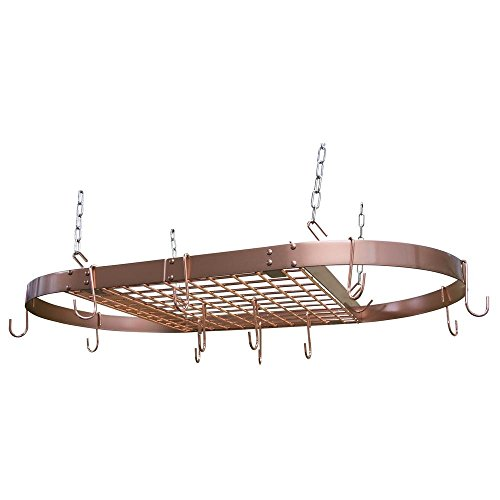 opper Motif Hanging Oval Pot Rack 1.5 Inch H by 33 Inch W by 17 Inch D (Copper Grid Oval Rack)