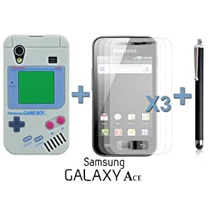 OnlineBestDigital - Gameboy Style Silicone Case for Samsung Galaxy Ace - Grey with 3 Screen Protectors and Stylus