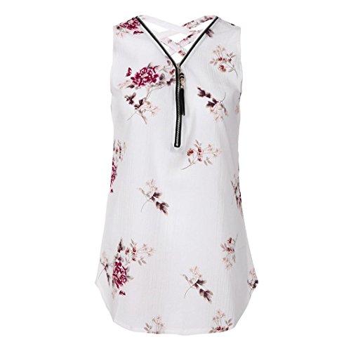 Damen Shirt Sommer 13 Reißverschluss Tank T DOLDOA Oberteile Weiß Tops Frauen rrUv6xwn8