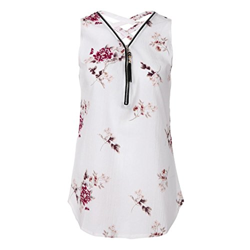 Frauen 13 Oberteile T Sommer DOLDOA Damen Reißverschluss Shirt Weiß Tank Tops aXxqwvT