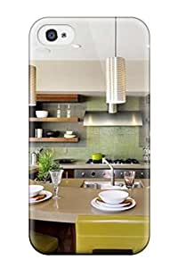 Durable Defender Case For Iphone 4/4s Tpu Cover(kitchen With Curved Island Open Cabinets Amp Backsplash)