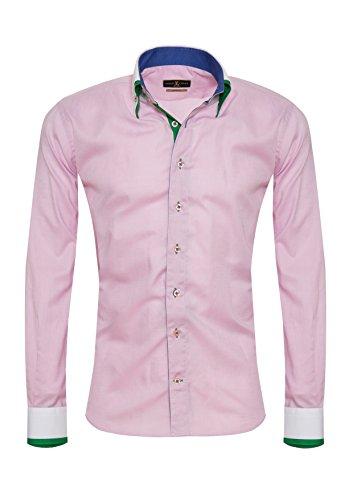 Giorgio Capone Herrenhemd, rosa mit grün & blauen Akzenten, Langarm, Button-Down-Kragen, Slim/Normal & Regular-Plus Fit