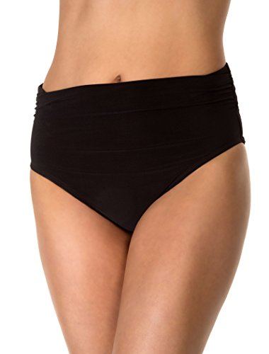 Magicsuit Women's Jersey Shirred Breif Swim Bottom, Black, 10
