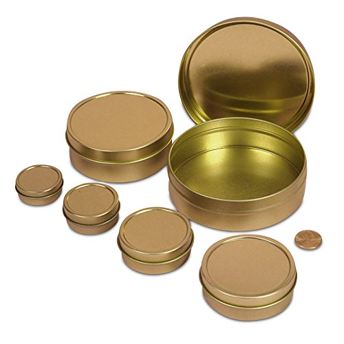 24ea - 3 Oz Gold Shallow Round Tin Can-Pkg by Paper Mart (Image #1)