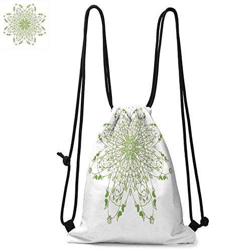 Michael Floral Print - Celtic Easy to carry drawstring backpac Oriental Flower Design Circle Pattern with Laurel Leaves Birds Floral Renaissance Print Durable Drawstring Backpack W13.8 x L17.7 Inch Green