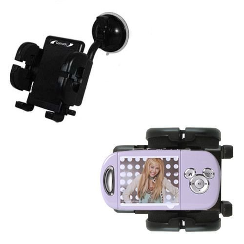 - Windshield Mount compatible with Disney Hannah Montana Mix Stick MP3 Player DS17032 for the Car / Auto - Flexible Suction Cup Cradle Holder for the Vehicle