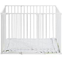 5f7967720 BabyDan Square Playpen with Play Mat (White)  Amazon.co.uk  Baby