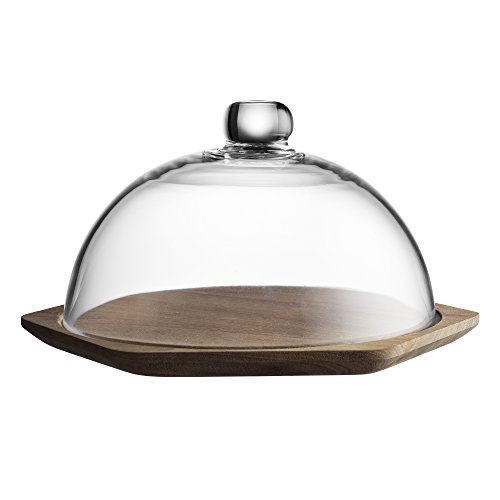 Typhoon Modern Kitchen Cheese Board with Glass Dome, Natural Acacia Wood Design, Elegant Dome Protects Contents, Perfect for Both Preparing and Serving, 9-3/4 x 8-3/4 x 5-1/2 inches