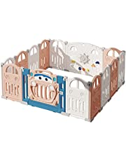 Bamitus - Inklapbare box voor baby's, extra groot, kunststof box, veiligheidsrooster, box