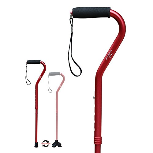 Red Walking Stick - KingGear Adjustable Cane for Men & Women - Lightweight & Sturdy Offset Walking Stick - Mobility Aid for Elderly, Seniors & Handicap (Red)