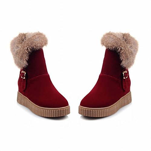 Latasa Donna Faux Fur Cold Weather Short Winter Snow Boots Rosso