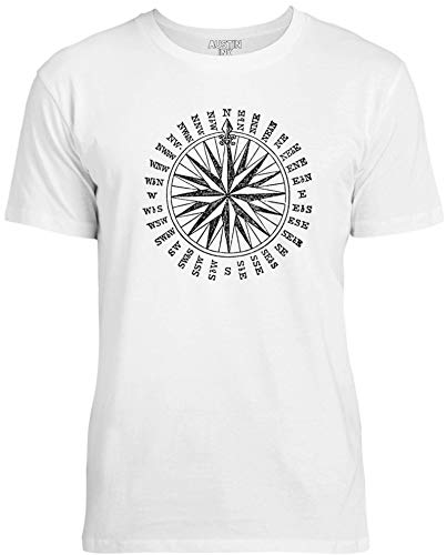 Austin Ink Apparel Old Antique Compass Unisex Womens Soft Cotton Tee, Ice White, ()