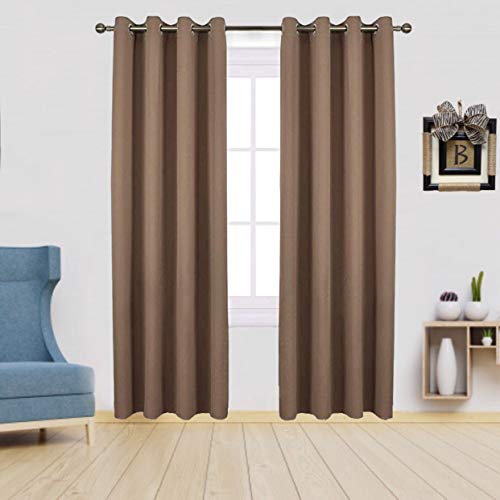 Ocean Lifestyle 100% Blackout Bedroom Curtains for Privacy, Room Darkening Window Curtains, 52 x 95 Inch 2-Panel, Cappuccino Blackout Blinds, Solid Silver Grommet Window Coverings Thermal Draperies.