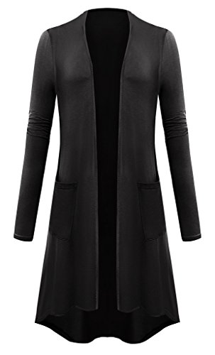 Cardigan Knee Length (Women Plus Size Open Front Lightweight High Low Drape Cardigan with Pockets 3X-Large Black)