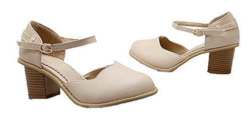VogueZone009 Women's Kitten-Heels Pumps-Shoes Beige AKSaGpCFd