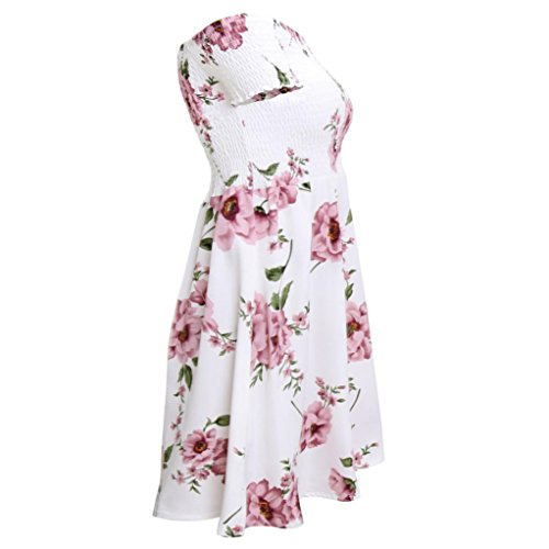 New Robe Fashion Robe Reaso sans col Femmes Rose bretelles Volants floral Sexy Sexy UtBxwqv