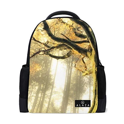 Backpack Foggy Forest Mossy Tree Mens Laptop Backpacks Shoulder Hiking Daypack