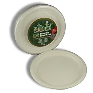 Stalkmarket 100% Compostable Sugar Cane Fiber Heavy Duty Tableware Retail Packs, 10-Inch Plate, 300-Count Case (Case of 12 Individual Retail Packs of 25 Plates)