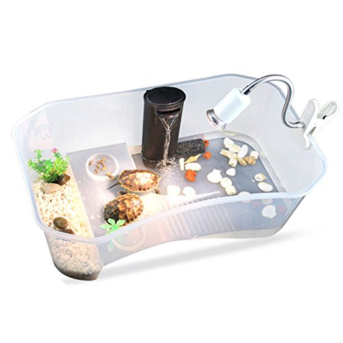 Accreate Practical Reptile Turtle Tortoise Vivarium Box Aquarium Tank with Basking Ramp (White)