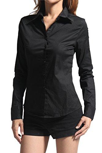 juniors black button down dress shirt - 1
