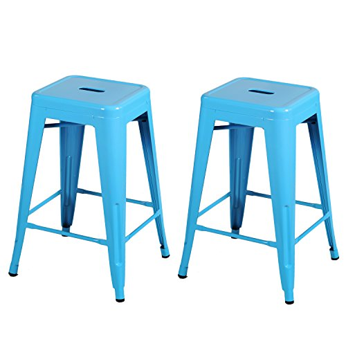 Joveco 24 Inches Sheet Metal Frame Tolix Style Bar Stool - Set of 2 (24 inches Light Blue) (Outdoor Metal Bar Stools compare prices)