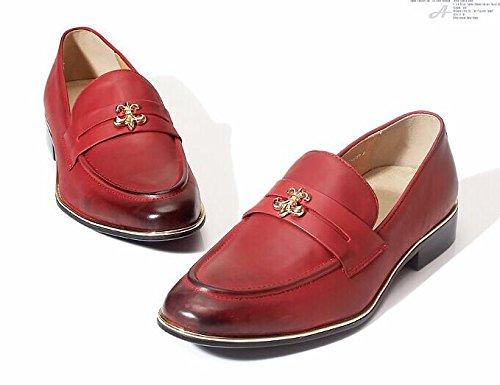 Happyshop (tm) Mens Läder Slip-on Penny Loafers Affärs Sko Oxford Red