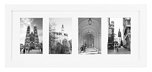 Golden State Art 8x20 White Photo Wood Collage Frame For (4) 4x6 with Real Glass & White (Frame Four)