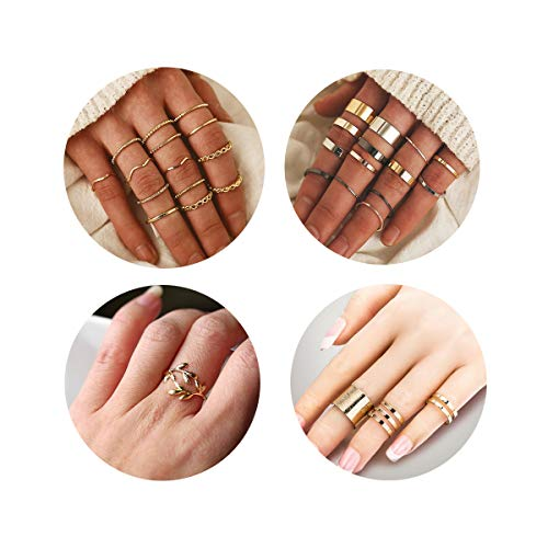 QXFQJT Knuckle Ring Set Vintage Stackable Midi Finger Rings Set for Women Girl Hollow Carved Flowers (32pcs-Gold)