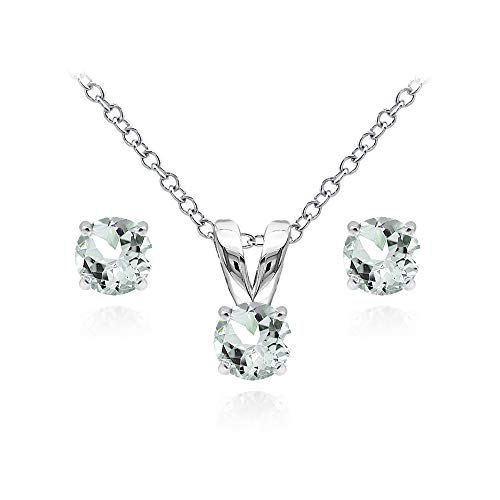 Sterling Silver Light Aquamarine 5mm Round Solitaire Pendant Necklace and Stud Earrings Set for Girls