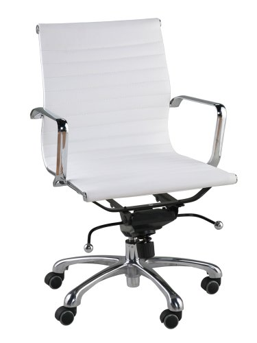 Malibu Mid Back Office Chair in White Leatherette
