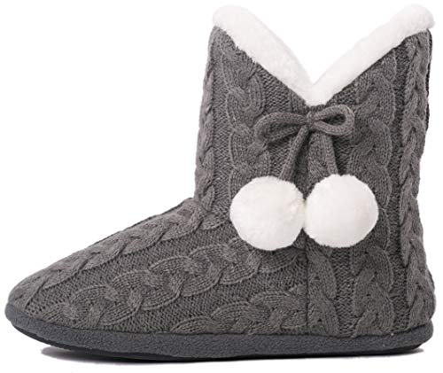 Booties Fur Faux - Airee Fairee Slippers Booties for Women Ladies Girls Slipper Boot Bootie Faux Fur Lined with Pom Poms (Medium US 7-8, Grey)