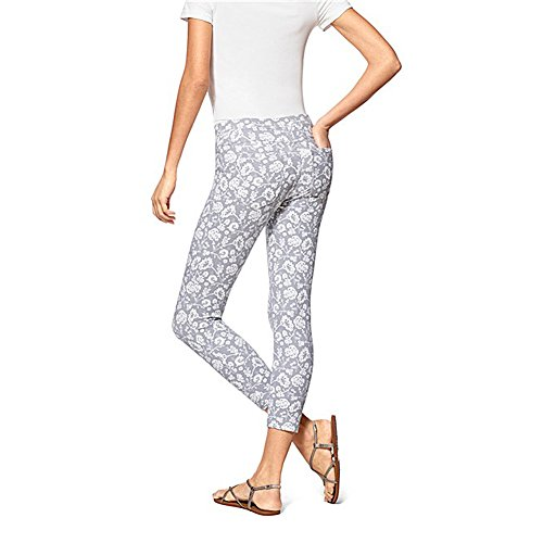 No Nonsense Women's Denim Capri Leggings with Pockets (Medium (8-10), Grey/White Print)