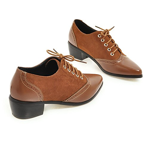 AIWEIYi England Retro Oxfords Low Brown Heel Lace Style Square Toe Ladies Shoes Pointed up r1EqxrA
