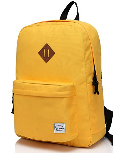 - Lightweight Backpack for School, VASCHY Classic Basic Water Resistant Casual Daypack for Travel with Bottle Side Pockets (Gold)