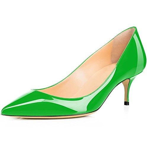 Tacchi Calaier Gattini Per Le Donne, Punta A Punta Décolleté Slip On Tacchi Bassi Scarpe Con Brevetto Sexy Dress Office Pumps Green
