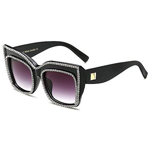 cuadrada libre tamaño forma gran sol de aire vacaciones de Negro para al UV para sol gafas gafas Negro protección playa Personalidad verano cristal grande conducir de mujer de Color E7TqPRRn