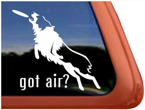 Dog Shepherd Sticker (Got Air? Frisbee Disc Dog Australian Shepherd Dog Vinyl Window Decal)