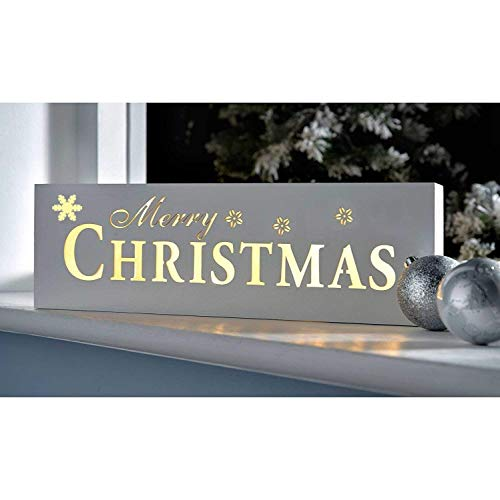 - LED Lighted Merry X'mas Sign Decoration,Table Top Light, Window Top Light, Wall Light, 15 Inch Elegant White Wooden Lights, Battery Operated, By Masonanic