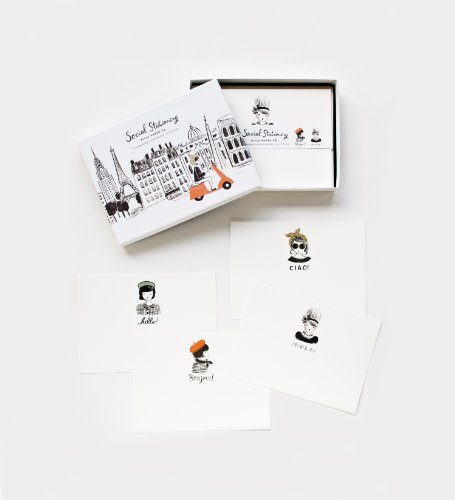 Global Greetings Social Stationery Flat Note Cards by Rifle Paper Co. -- Set of 12 Cards and Envelopes