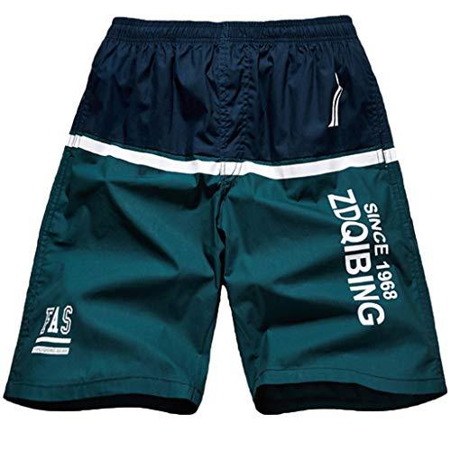 ANJUNIE Men's Flat Front Stripe Zip Shorts with Pocket Elastic Cord Casual Cotton Sports Beach Pants(2-Green,XL)