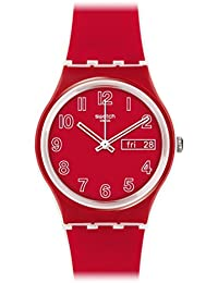 Poppy Field Quartz Plastic and Silicone Casual Watch, Color:red (Model