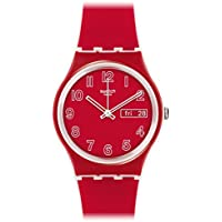 Swatch ' Poppy Field' Quartz Plastic and Silicone Casual Watch, Color:red (Model: GW705)