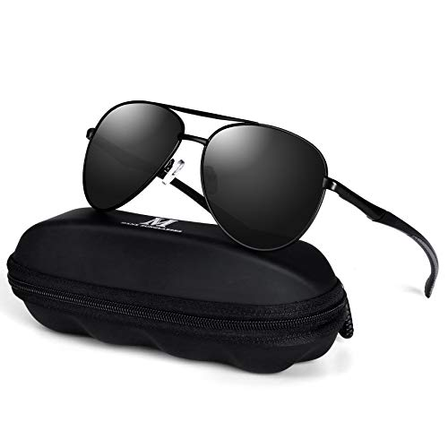 mxnx Aviator Sunglasses for Men Polarized Sunglasses Womens Driving Fishing Lightweight Mens Sunglasses 508-(Black/Black Lens)