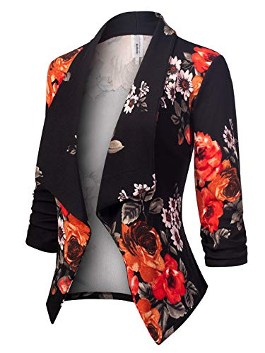 - MixMatchy Women's [Made in USA] Classic 3/4 Gathered Sleeve Open Front Blazer Jacket (S-3XL) Flower Print #9 2XL