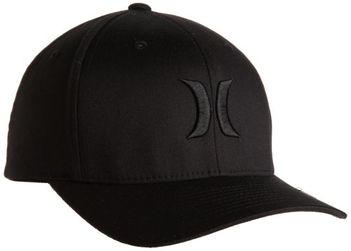Hurley Men's One and Only Flexfit Hat, Black, Large/X-Large (Embroidered Hurley Hat)