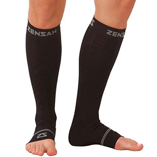 Zensah Ankle/Calf Compression Sleeves, Black, Large
