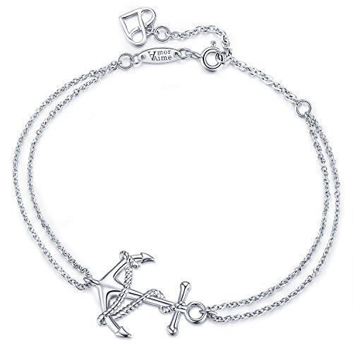AmorAime 925 Sterling Silver Anchor Bracelet Truly Unique Anchor Symbol Adjustable Double Chains Charm Bracelet for Womens Girls Jewelry Gift