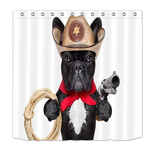 AshasdS Funny Pug Dog with Cowboy Hat Gun Hemp Rope Shower Curtain Bathroom Decoration, 72x72 Inch Polyester Fabric Bath Curtain Set with 12 Hooks